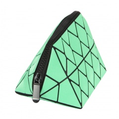 Geometric Ringer Triangle Makeup Bag Hand Bag 20.5*10.5*10.5cm Green