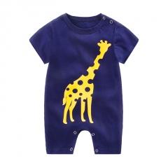 Baby Jumpsuit Short-Sleeved Romper Cotton Crawling Garment Navy Blue 59
