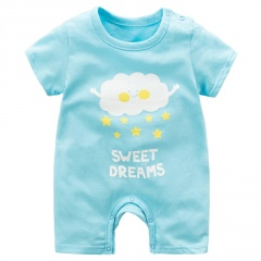Baby Jumpsuit Short Sleeve Crawling Clothes Blue 59