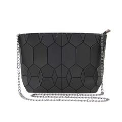 Black Silver Geometric Diamond Bag Shoulder Bag Crossbody Bag Chain Bag Silver