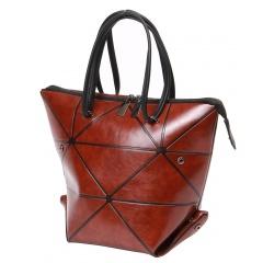 Brown Geometric Lattice Bag Folding Deformation Bag Shoulder Bag Brown