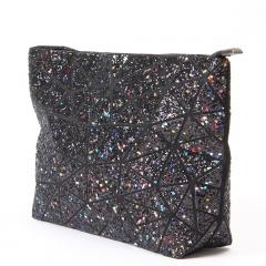 Black Sequined Ringer Bag Makeup Bag Chain Cross Shoulder Bag Black