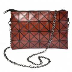 Brown Geometric Diamond Shoulder Handbag Large Bag Brown