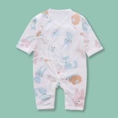 Newborn Infant Baby Boy Girls Cartoon Fox&Hedgehog Pattern Belted Dress Jumpsuit Sleepwear Casual Summer New Born Clothes Fox&Hedgehog 0-6 Months(52)