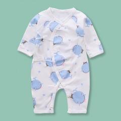Newborn Infant Baby Boy Girls Cartoon Blue Whale Pattern Belted Dress Jumpsuit Sleepwear Casual Summer New Born Clothes Blue Whale 0-6 Months(52)