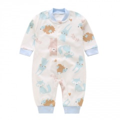 Baby Rompers Short Sleeve Jumpsuit Newborn Clothes Summer Bottoming White clothes with Animal Kingdom Design Baby Girl Boy Onesie Clothes Hedgehog&Fox 0-3 Months(59)