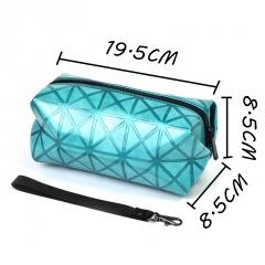Blue Geometric Diamond Makeup Bag In Hand Blue