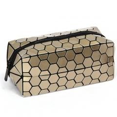 Gold Long Style Refurbished Makeup Bag Linger Wash Gargle Bag, Bag In Hand 19.5*8.5*8.5cm Golden