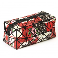 Long Square Geometric Pattern Ringer Holding A Zipper Cosmetic Bag Flower