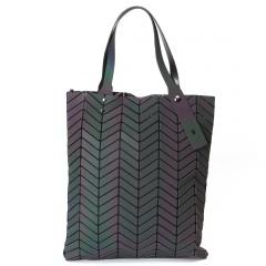 Luminous Tree Leaf Pattern Geometric Lattice Handbag 39.5*34.5cm Black