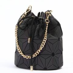 Luminous Chain Handbag Ringer Rope Bucket Bag Drum Bag 24.5*19cm Black