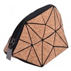 Geometric Rhombus Cork Bag Zip Handle Bag Triangle