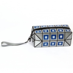 Geometric Diamond Long Square Makeup Bag Hand Bag Silver