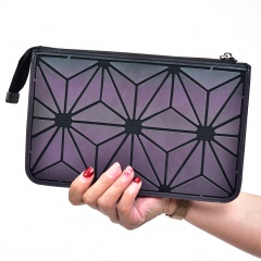 Geometric Diamond Luminous Three-layer Wallet Chain Bag Single-Shoulder Bag Cross-Body Bag 23.5*14.5cm Flowers with