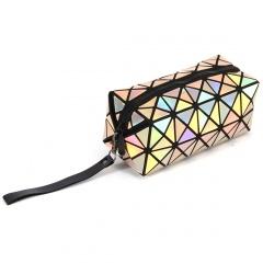 Geometric Diamond Laser Zipper Clutch Bag Yellow
