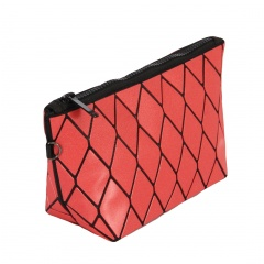 Geometric Ringer Makeup Bag Zipper Clutch Bag 24*12*8cm Red