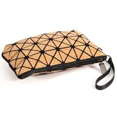 Geometric Ringer Makeup Bag Zipper Handle Bag Cork Bag 23.5*15.5cm Brown