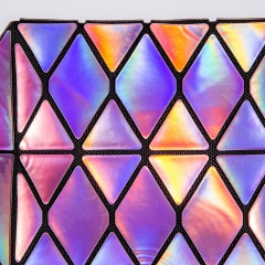 Geometric Diamond Triangle Laser Zipper Bag 21*10.5*10.5cm Purple