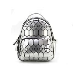 Geometric Ringer Backpack Storage Travel Student Backpack 26.5*22*10.5cm Hexagonal silver