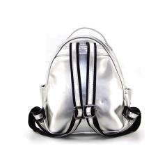 Geometric Ringer Backpack Storage Travel Student Backpack 26.5*22*10.5cm Diamond silver