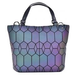 Geometric Laser Bag Luminous Ringer Bag Single Shoulder Bag 37*25.5*13cm Hexagon