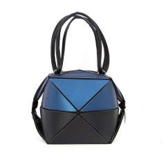Geometric Rhombic Folding Pouch Handbag 34.5*33cm Blue