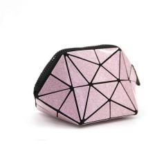 Geometric Ringer Portable Change Zipper Hand Bag21*10.5*10.5cm Pink