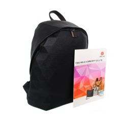 PU Leather Backstrap Student Backpack45*33*10cm Black