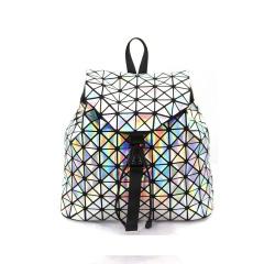 White Geometric Ringer Dazzle Laser Backpack 34*31.5*13.5cm White