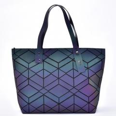 Geometric Ringer Bag Glow-lit Folding One-shoulder Handbag 43*26.5*10.5cm Rhombus