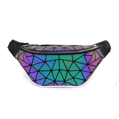 Geometric Diamond Glow-Change Bust Bag For Men 36*15*8cm Blue