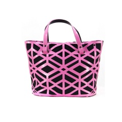 Geometric Diamond Lattice Hollow Jelly Color Shoulder Bag Pink-A