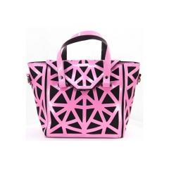 Geometric Pink Diamond Hollow-out Jelly Handbag 37*21*12.5cm Irregular triangle