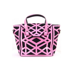 Geometric Pink Diamond Hollow-out Jelly Handbag 37*21*12.5cm Rhombus