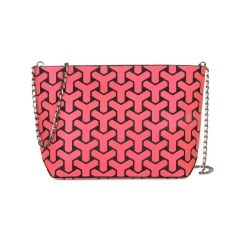 Geometric Ringer Chain Women's Bag Shoulder Bag Crossbody Bag 28*18*7.5cm Red branch