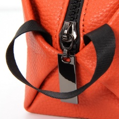 Leather Zipper Bag Cosmetic Handbag 20*8.5*8.5cm Orange
