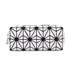 Geometric Diamond folding bag Cosmetic storage bag Hand bag 19.5*8.5*8.5cm White