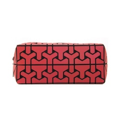 Geometric Diamond Folding Bag Cosmetic Storage Bag Hand Bag 19.5*8.5*8.5cm Red