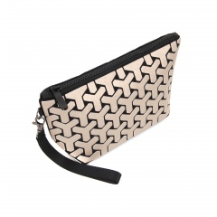 Geometric Ringer zipper wallet cosmetic bag hand bag 24*12*8cm light gold