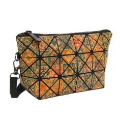 Geometric Ringer Bag Cork Printed Bag Folding bag Cosmetic Storage Zipper Hand Bag 24*12*8cm