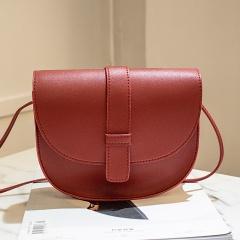 New Semicircle shape Women bag Solid Color Imitation Leather shoulder bag croosbody bag fashion simple youth handbag Red