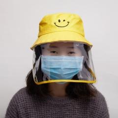 Children Fisherman Cap + Protective Clear Mask Saliva-proof Dust-proof Sun Visor Hat Black
