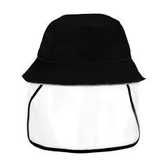 Fisherman Cap + Protective Clear Mask Saliva-proof Dust-proof Sun Visor Hat Black