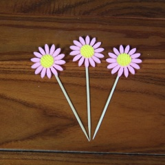 3Pcs Cake Toppers Sunflower Party Cupcake Decoration Cake Inserts Card Party Gifts for Kids Birthday Wedding Decor Pink