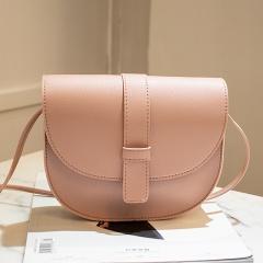 New Semicircle shape Women bag Solid Color Imitation Leather shoulder bag croosbody bag fashion simple youth handbag Pink