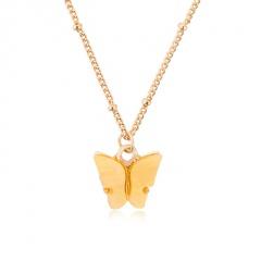 Fashion Boho Pink Butterfly Acrylic Pendant Necklace Elegant Women Party Jewelry Yellow