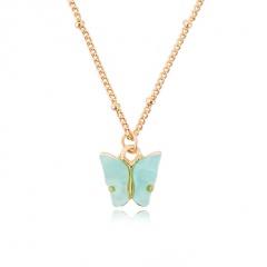Fashion Boho Pink Butterfly Acrylic Pendant Necklace Elegant Women Party Jewelry Blue