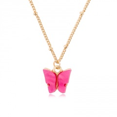 Fashion Boho Pink Butterfly Acrylic Pendant Necklace Elegant Women Party Jewelry Hot Pink