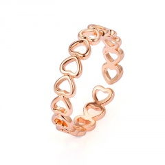 hollow heart rose gold silver women's tail ring Rose gold