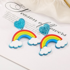 Cute Larger Acrylic Stud Colorful Earrings Rainbow